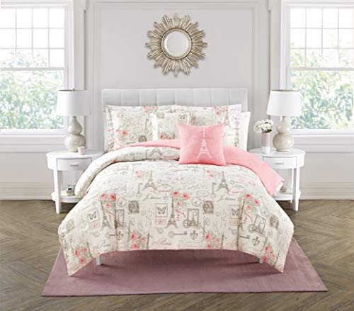 City of Romance 5-Piece Comforter Set, Super Soft, Paris decor for bedroom, Eiffel Towers, Watercolor Floral Bouquets, Butterflies, Reversible Bedding, French Country Pattern, Pink/White, Queen