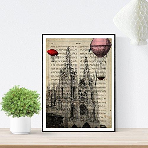 Nacnic Lámina Ciudad de Burgos. Estilo Vintage. Ilustración, fotografía y Collage con la Historia DE Burgos....