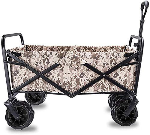 Falten Sie tragbare Gartenwagen Faltbare Pull Wagon Hand Cart Garden Transport Cart, Folding Camping Cart mit Futter, 4 Rädern zusammenklappbaren Festival Trolley