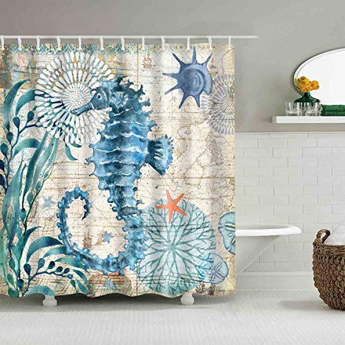 Sea Horse Ocean Shower Curtains Mediterranean Style Marine Life, Bath Fantastic Decorations Waterproof Polyester Fabric Bathroom Shower Curtain Liner with Hooks 72' x 72' (Sea Horse)