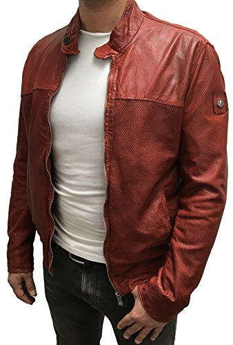 MILESTONE Herren Lederjacke Regular Fit Mesh-Optik Explor perforiert (52, Rot)