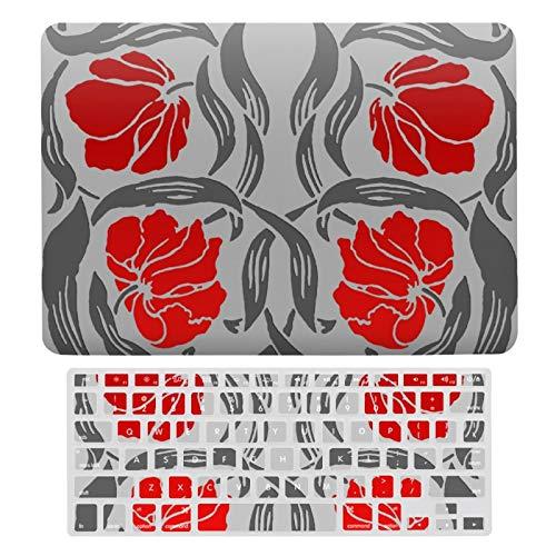 Funda para MacBook New Pro 13 Touch, carcasa rígida de plástico y cubierta de teclado compatible con MacBook New Pro 13 Touch, William Morris Pimpernel gris plateado y rojo