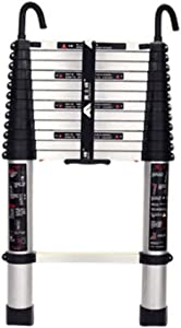 ZXCMNB Step Stool  Aluminum Telescoping Ladder With Industrial Hook Telescopic Extension Multi Purpose Ladders Portable With One-Button Retraction System For Industrial Household Daily