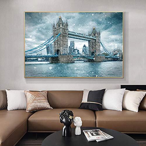 Tower Bridge London Paisaje Lienzo Arte de la pared Impresiones Día de las nieves Inglaterra Carteles e impresiones Lienzos para decoración de sala de estar   70x100cm Sin marco