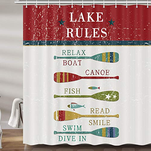 Lake House Decor RV Shower Curtains for Bathroom, Quote Lake Life Vintage Rustic Cabin Fabric Shower Curtain Set, Camper Bathroom Accessories Decor, Hooks Included (69W X 72H)