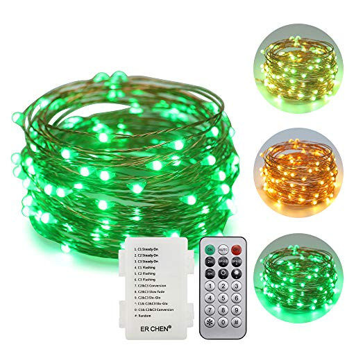 ErChen Battery Operated Led String Lights, Dimmable 33 FT 100 LED Fairy Lights Copper Wire Light with Remote Timer 12 Modes for Indoor Outdoor Party (Warm White/Green)