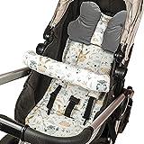 Cojín asiento cojín cochecito - cojín buggy cojín asiento para asiento infantil transpirable conjunto universal con protección cinturón reposacabezas 75x35 cm (Gris - Búhos)