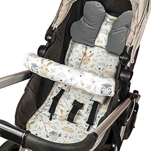 Imbottitura per sedile imbottito per passeggino - cuscino per passeggino imbottito per seggiolino per bambini set universale traspirante con protezione per cintura poggiatesta 75x35 cm (Grigio - Gufi)