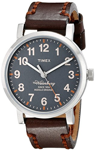 Timex Men's TW2P58700 Waterbury Gray Dial Brown Leather Strap Watch