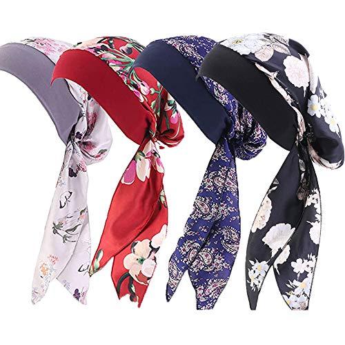 Greenf 4 piezas de turbantes elásticos para mujer, estilo vintage, sedoso, turbantes, capó, bufanda de pelo largo, diademas para la cabeza con impresión del cáncer, sombrero para dormir, gorro rojo y negro, 22 – 23 pulgadas