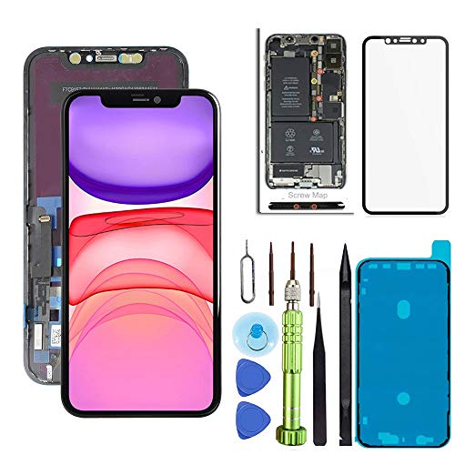 for iPhone 11 Screen Replacement 6.1 inch LCD Touch Screen Display Digitizer Repair Kit Assembly with Complete Repair Tools and Screen Protector