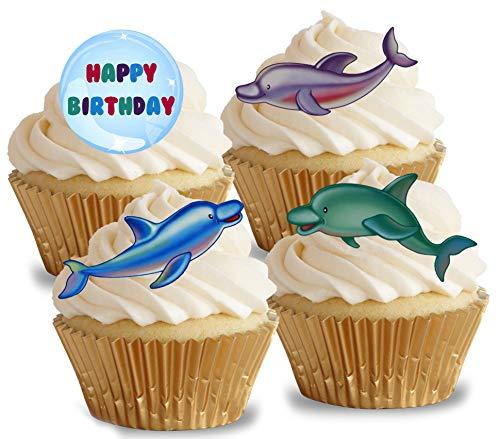 Vorgeschnittene Kuchendekoration mit Delfinen, essbares Reispapier/Oblatenpapier, Cupcake-Dekoration, für Geburtstagspartys