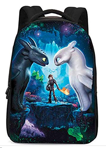 How to Train Your Dragon Backpack Hiccup Bag Night Fury Toothless School Bags for Boys Girls (dragon3-face)
