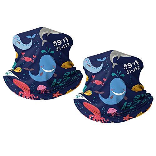 Kinder Multifunktionstuch Sommer, Mundschutz Schlauchtuch für Jungen und Mädchen (Marine Animals)
