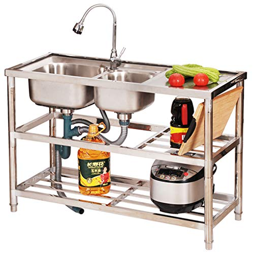 Commercial Stainless Steel Catering Thickened Sink,Free Standing Utility Sink with Drainboard,Kitchen Double Sink Dish Washing Basin,Adjustable Feet
