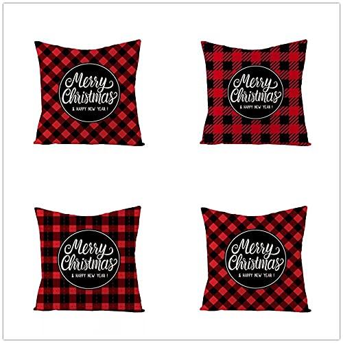 Fundas de Cojín Lema de celosía geométrica navideña Algodón de Lino Cuadrado Funda de Almohada Decor Cushion Covers para Salón Sofá Dormitorio Throw Pillow Case Juego de 4 L987 50x50cm/20x20inch