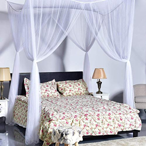 GOFLAME Bed Canopy Mosquito Net 4 Corners Post Easy Installation King Size No Added Chemicals Netting Bedding (White)
