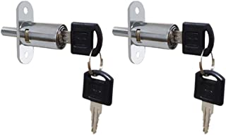 VictorsHome Push Plunger Lock 19mm x 23mm Cylinder Head Chrome Plated Zinc Alloy Keyed Different 2 Pack