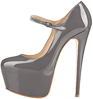 Onlymaker Womens Fashion Ankle Strap Platform High Heel Mary Jane Stiletto Pumps Party Dress Shoes