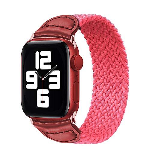 AIREQN Solo Trenzada Bucle de la Correa for el Reloj de la Banda de 44 mm 40 mm 38 mm 42 mm de Silicona elástico Serie Reloj Pulsera (Band Color : Pink, Size : 42mm or 44mm)