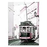 JXMK Fotografía de Viajes, Cartel de Hierba Rosa, Paisaje de Toscana, Bicicleta, tranvía, Lienzo, Arte de Pared, Pintura, decoración, 30x40cm sin Marco