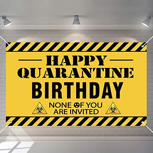 Happy Quarantine Birthday Backdrop Social Distancing Background Happy Birthday Banner Baby Shower Background for Themed Birthday Baby Shower Party Decoration Supplies