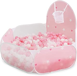 PlayMaty Ball Pit Play Tent with Basketball Hoop for Kids Toddlers Outdoor Indoor Play 4 Ft/120CM (Balls Not Included)