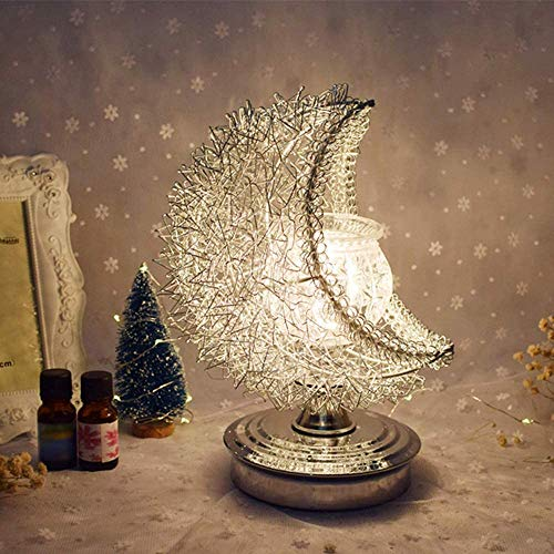 Moon Lamp 3D Moon Lamp Night Light, Aroma Electric Wax Melt Burner Romantic Lamp Atmosphere for Decoration & Bedroom & Home - White