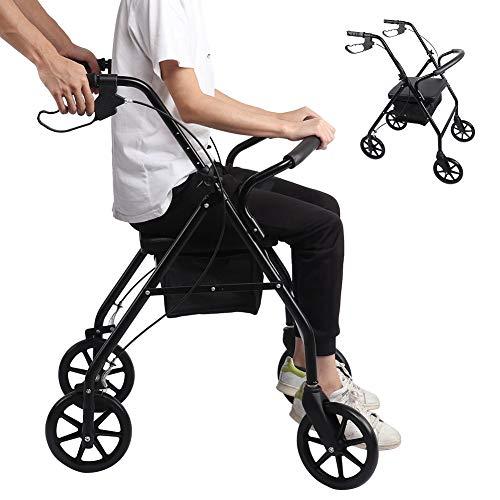Leichter Transportrollstuhl mit Handbremsen, fester rostfreier Rollstuhl Verstellbarer bequemer Stützrollstuhl Schwarz