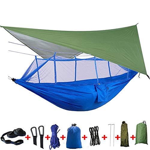 XuZeLii Hamaca De Camping 2 Persona Rainfly Tarp Cubierta Cama Colgante Hamaca Camping Tienda de campaña con Mosquitera for el Recorrido Adecuado para Mochileros (Color : Dark Blue, Size : One Szie)