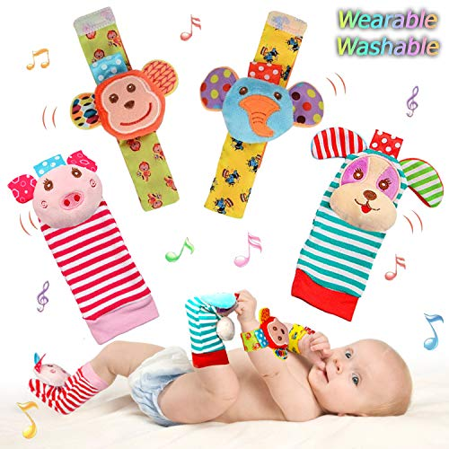 SSK Soft Baby Wrist Rattle Foot Finder Socks Set,Cotton and Plush...