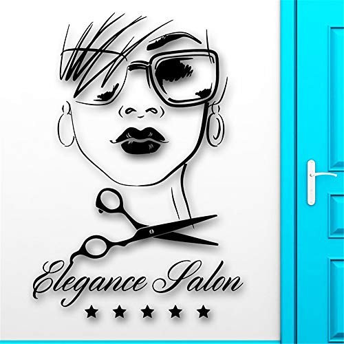 stickers muraux football Salon de coiffure Sexy Beauty Girl Haircut Decal Hair Elegance Room