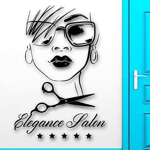 wandaufkleber blumenranke Friseursalon-sexy Schönheits-Mädchen-Haarschnitt-Abziehbild-Haar-Eleganz-Raum