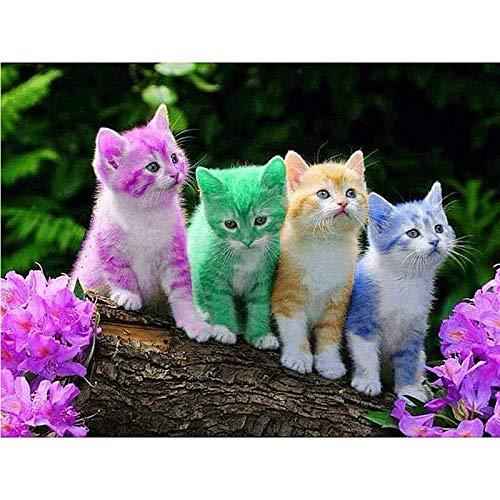 DIY 5D diamante pintura mosaico cuatro gatitos punto de cruz cristal diamantes de imitación bordado artesanía para adultos niños decoración del hogar regalo 40X50Cm