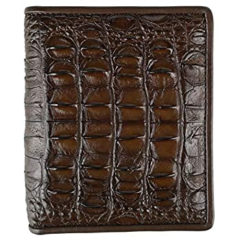 CHERRY CHICK Men s Authentic Crocodile Leather Wallet Alligator Wallet Ideal Present  Brown-Back-Vertical