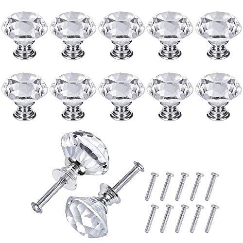 JRing 10 Stück Silber und Transparente Türknöpfe, Zink-Legierung Crystal Drawer Pull Möbel Griff mit Schraube für Schlafzimmer Möbel, Bedside Cabinet, Dresser Unit