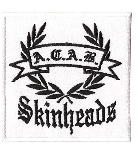 A.C.A.B. Skinheads - Aufnäher, Farbe: Weiß/Schwarz