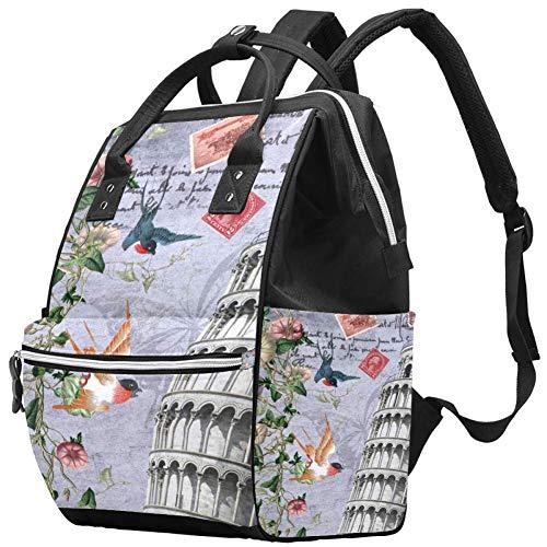 Zaini Borsa per pannolini Zaino per laptop Zaino leggero Escursionismo Campeggio Zaino da viaggio per donna Torre pendente di Pisa Rondine Fiore