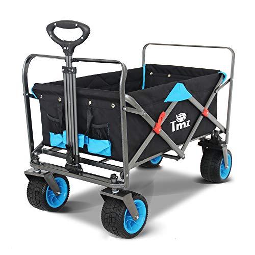 TMZ Faltbarer Bollerwagen All-Terrain Autoreifen Klappwagen mit Schubgriff, Patentierte Falttechnik Gartenwagen, Breite 360 ° Drehräder Handwagen, 90 L, bis 120 kg (Black/Blue)