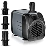 Submersible Water Pump 25w | Small and Portable 400gph Pump - Perfect for Ponds, Fountains, Aquariums and More | 7 Foot Height Lift | Connects to Almost Any Hose/Tubing | Updated Quiet Motor