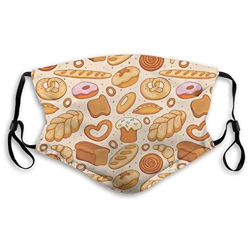Mond Masker kan vervangen actieve kool filter M neus clip stof maskGoods Van Bakkerij Brood Donut Croissant Bagel En KaneelUnisex Gezicht Mond Masker voor Kinderen Tieners Mannen Vrouwen S(Kids) Kleur: wit