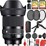 Sigma 35mm f/1.4 DG DN Art Lens Sony E-Mount Bundle with 2X 64GB Extreme Memory Cards, 3-Piece Filter Kit, Wrist Strap, Card Reader, Memory Card Case, Tabletop Tripod
