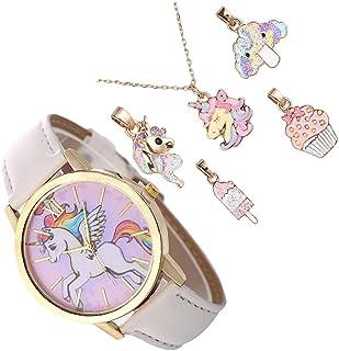 ULTECHNOVO Conjunto de 6 1 Pcs Crianças Relógio de Pulso Relógio Relógio de Quartzo Dos Desenhos Animados Do Unicórnio Com...