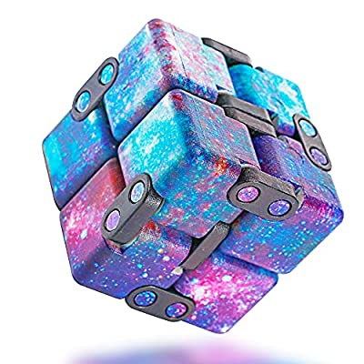 INFINITY CUBE Fidget Cube Toy 2021 New Mini Hand Held Fidget Stress Anxiety Relief Galaxy Purple for Adults Kids ADD ADHD Good Gift Killing Time and Fun Magic Puzzle Flip Not Noisy Portable Toy by INFINITY CUBE