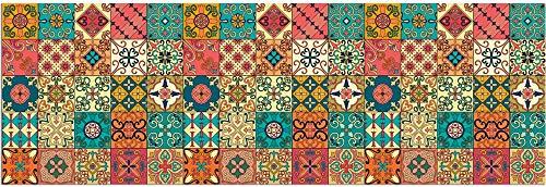 matches21 Teppichläufer Küchenläufer Teppich Läufer Marokko Retro Mosaik bunt Mix Velours & Latex waschbar 60x180 cm