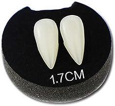 13 mm, 15 mm, 17 mm Sumind 32 Paia Denti da Vampiro Denti Personalizzati con 1 Tubo Denti Pellet Adesivo per Protesi per Halloween Puntelli per Feste Cosplay Bomboniere per Feste in Costume