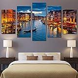 VTootkl Pintura 5 Lienzo Impresiones en Lienzo Luces de Barco de la Ciudad de Agua de Venecia Artwork decoración de dormitorios Modernos decoración