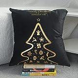 XYZU Fundas de Cojín, Fundas para Cojines,Cojines para Sofa con Cremallera Invisible Funda de Cojín para sofá Dormitorio CochePatrón de Navidad Set de Almohada de Oro Bronceado 2pcs-1