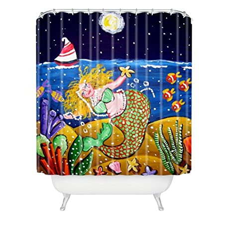 Green night time nautical mermaid shower curtain