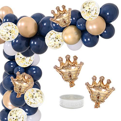 Marineblau Ballon Garland Arch Kit Party Dekoration Lieferungen für Jungen Royal Prince Baby Shower Geburtstag Abschlussfeier mit Mini Kronen
